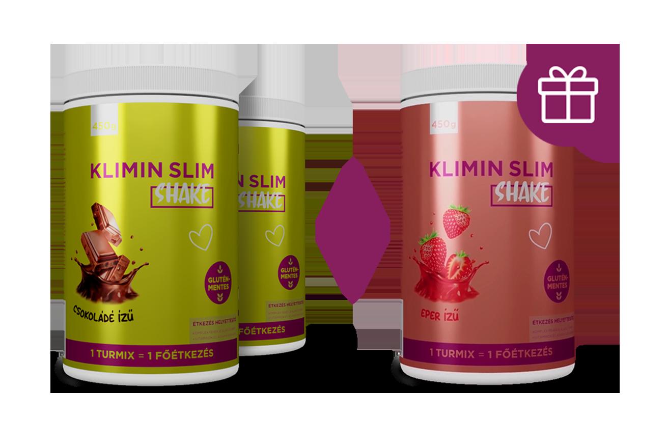 Klimin Slim Shake 2+1 akció - 2 csoki+1 eper - Pharmax