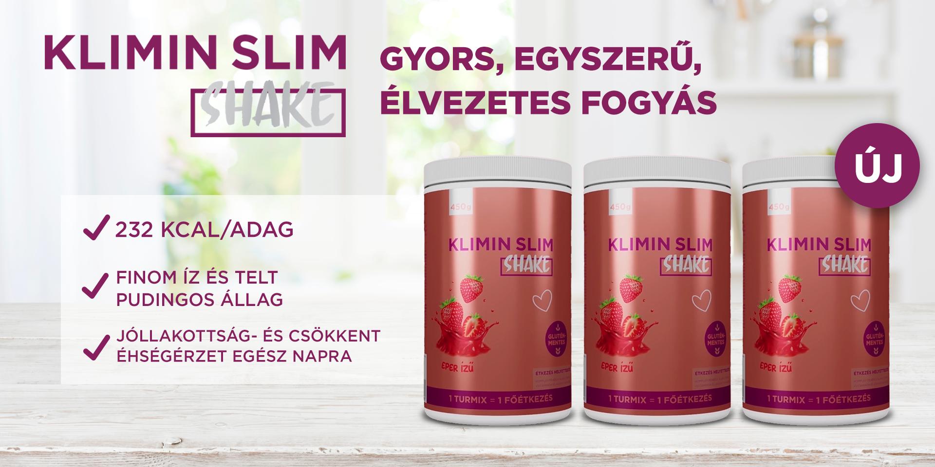 Klimin Slim Shake 2+1 ajándék akció -eper - Pharmax